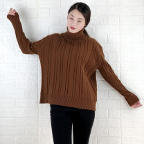 sweater Autumn of 2018 Average size Black, light apricot, caramel Long sleeves Socket singleton  cotton 95% and above High collar thickening commute routine Solid color Straight cylinder Coarse wool Keep warm and warm Dongrunlian DRL4848# thread cotton