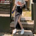 skirt Summer 2021 S M L White top black skirt blue skirt Mid length dress commute High waist A-line skirt More than 95% Sha Jinghan other Make old button stickers Korean version Other 100%