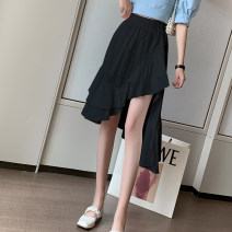 Dress Summer 2021 White black S M L XL Middle-skirt singleton  Sleeveless commute Crew neck High waist Solid color other A-line skirt other Others 18-24 years old Type A Peng Si Korean version Asymmetric ruffles 9R376Y More than 95% other other Other 100% Pure e-commerce (online only)