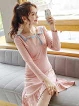 Dress Autumn of 2019 Pink S M L XL Middle-skirt singleton  Long sleeves street other High waist Solid color Socket A-line skirt routine Others 25-29 years old Wen Huan WH6983 More than 95% polyester fiber Polyethylene terephthalate (PET) 97% polyurethane elastic fiber (spandex) 3% Europe and America