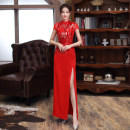 cheongsam Spring 2021 S ml XL 2XL 3XL 4XL customized contact customer service gules Short sleeve long cheongsam Retro High slit banquet Oblique lapel Decor 25-35 years old Piping SBM130 Shibeimo other Other 100% Pure e-commerce (online only) 96% and above