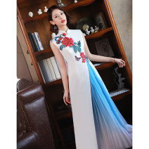 Dress / evening wear Weddings, adulthood parties, company annual meetings, daily appointments Korean version longuette middle-waisted Winter 2020 Self cultivation stand collar zipper 26-35 years old Sleeveless Embroidery Solid color Shibeimo other Other 100% Pure e-commerce (online only) other