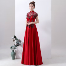 Dress / evening wear Wedding adult party company annual meeting performance S ml XL 2XL 3XL 4XL customized contact customer service Retro longuette middle-waisted Summer of 2019 Self cultivation stand collar Bandage 26-35 years old Short sleeve Nail bead Shibeimo Polyester 100% Sequins