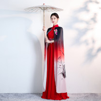 cheongsam Winter of 2019 S ml XL 2XL 3XL 4XL customized contact customer service Red + Cape 047 white + Cape 047 Red + no Cape 047 white + no Cape 047 long cheongsam ethnic style No slits perform Straight front Over 35 years old SBM047 Shibeimo polyester fiber Polyester 100%