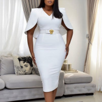Dress Spring 2021 White, blue, black S,M,L,XL longuette singleton  Long sleeves commute V-neck High waist Solid color zipper One pace skirt routine 25-29 years old Type X zipper polyester fiber