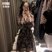 Dress Autumn 2020 Apricot, black S,M,L,XL Short skirt singleton  Long sleeves commute V-neck High waist Broken flowers zipper A-line skirt Lotus leaf sleeve Others 18-24 years old Type A Korean version Bow, ruffle, lace 5027# Chiffon