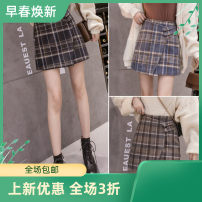 skirt Autumn 2020 Short skirt High waist commute Irregular lattice More than 95% other 25-29 years old 1982 in stock** Asymmetry, button Other / other Korean version S,M,L,XL Blue, black, brown