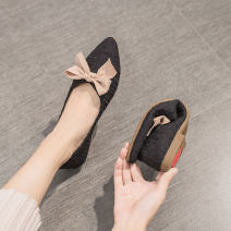 Low top shoes 35 36 37 38 39 Mianfuni Beige black yellow green Sharp point cloth Flat bottom Low heel (1-3cm) Shallow mouth PU Spring 2021 Trochanter Korean version Adhesive shoes Youth (18-40 years old) rubber Single shoes Shallow bow leisure time CP33 Pure e-commerce (online only)