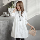 Dress Bu Xiaoer (residential furniture) white M L XL XXL Long sleeves routine summer Crew neck Solid color Lace 9015#
