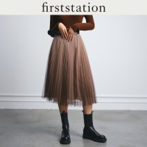 skirt Spring 2021 160/68A/M 165/72A/L 165/76A/XL Grey Camel Mid length dress commute Natural waist other Type H 25-29 years old HFGEA3411Z More than 95% other FIRSTSTATION polyester fiber Simplicity Polyester 100% Same model in shopping mall (sold online and offline)
