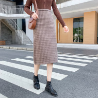 skirt Winter 2020 S M L XL Grey brown Mid length dress commute High waist A-line skirt lattice Type A 18-24 years old More than 95% Wool Cherry and lemon other zipper Korean version Other 100% Pure e-commerce (online only)