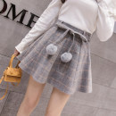 skirt Winter 2020 S M L XL 2XL Short skirt Sweet High waist Fluffy skirt lattice Type A 18-24 years old More than 95% Wool Cherry and lemon other Other 100% Pure e-commerce (online only) college