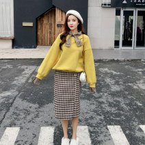 Sweater / sweater Autumn of 2019 A set of sweater and skirt (plush and thickened) S M L XL Long sleeves routine Socket Upper and lower sleeve Plush stand collar easy commute pagoda sleeve Solid color 18-24 years old 96% and above Cherry and lemon Korean version other bow Intradermal bile duct