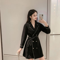 Dress Autumn of 2019 Picture color S M L XL Mid length dress singleton  Long sleeves commute V-neck High waist Solid color double-breasted A-line skirt routine Others 18-24 years old Type A Cherry and lemon Korean version Lace up stitching button More than 95% other Other 100.00%
