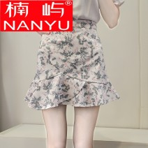 skirt Summer of 2018 XS S M L XL XXL Lotus No.12 light blue dot color lotus No.12 pink dot color lotus skirt yellow flower lotus skirt red flower Short skirt Versatile High waist Ruffle Skirt Decor Type A 18-24 years old More than 95% Nanyu other Other 100%