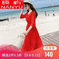 Dress Summer of 2019 White red M L XL 2XL Mid length dress singleton  elbow sleeve commute other High waist other other other Others 18-24 years old Nanyu Korean version TSZJH112 More than 95% other other Other 100% Exclusive payment of tmall