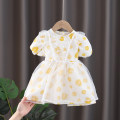 Dress yellow female Cradle sweetheart 90cm 100cm 110cm 120cm 130cm Cotton 60% other 40% summer Korean version Short sleeve Broken flowers cotton A-line skirt X20073 Summer 2021 12 months, 18 months, 2 years old, 3 years old, 4 years old, 5 years old, 6 years old, 7 years old and 8 years old