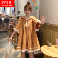 Dress Summer 2020 S M L Mid length dress singleton  Short sleeve commute Admiral High waist Solid color Socket Big swing routine Others 18-24 years old Yun Jun Guan Korean version Lace up Tie print 71% (inclusive) - 80% (inclusive) cotton Cotton 75% polyester 25% Pure e-commerce (online only)