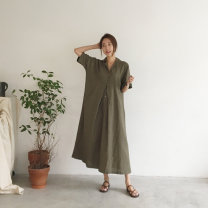 Dress Summer 2020 Brown Black S M L XL longuette singleton  Short sleeve commute tailored collar Loose waist Solid color Socket A-line skirt routine 25-29 years old Type A Gu Feina Pleated pocket button LYQ20-06002 31% (inclusive) - 50% (inclusive) hemp Flax 35% cotton 35% polyester 30%