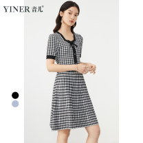 Dress Summer 2021 Grey, black and white 38 / M / 110 Jin, 40 / L / 120 Jin, 42 / XL / 130 Jin, 44 / XXL / 140 Jin, 46 / XXXL / 155 Jin Mid length dress singleton  Short sleeve commute square neck middle-waisted Socket A-line skirt puff sleeve Others 30-34 years old Type X Sound Ol style 8C61206436