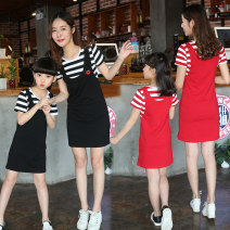 Parent child fashion Red and black Women's dress female Yunsi dance YS005 summer Simplicity routine stripe skirt cotton L M XL XXL Cotton 96% other 4% Summer 2020 Chinese Mainland