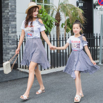Parent child fashion Picture color Mother and son female Yunsi dance summer fresh routine Cartoon animation suit cotton M YS219 Summer 2020 3 years old, 4 years old, 5 years old, 6 years old, 7 years old, 8 years old, 9 years old, 10 years old, 11 years old, 13 years old, 14 years old