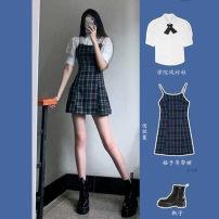 Women's large Spring 2021 Shirt + suspender skirt shirt suspender skirt S M L XL TZ20605LR3eE Sauvignon 81% (inclusive) - 90% (inclusive) Polyester 95.5% other 4.5%