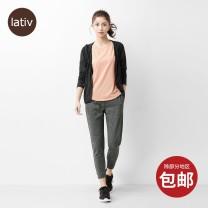 Casual pants Dark linen grey dark blue black S M L XL Summer 2021 Ninth pants Straight pants Natural waist Lativ Polyester 100% Pure e-commerce (online only)
