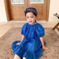 Dress royal blue female Other / other 80cm,90cm,100cm,110cm,120cm,130cm Cotton 90% other 10% summer Korean version Short sleeve Solid color cotton Lotus leaf edge Three, four, five, six, seven, eight