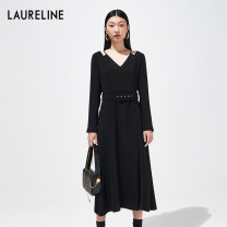 Dress Spring 2021 C99 black S M L XL XXL longuette singleton  Long sleeves commute V-neck middle-waisted Solid color Socket A-line skirt routine 30-34 years old Laureline / laureline Frenulum More than 95% knitting polyester fiber Polyester 100% Same model in shopping mall (sold online and offline)