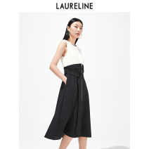 Dress Spring 2021 C91 black and white S M L XL XXL longuette singleton  commute Crew neck High waist Solid color Socket A-line skirt routine 30-34 years old Type A Laureline / laureline Frenulum More than 95% Chiffon polyester fiber Polyester 100% Same model in shopping mall (sold online and offline)