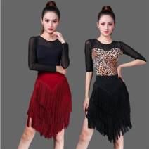 Latin Dance Costume Other / other female Tassel Wine red skirt, black skirt, leopard skirt, black long sleeve top, black middle sleeve top, leopard, leopard, scarlet skirt, peacock green skirt, black one-piece top, middle sleeve S,M,L,XL,XXL,XXXL