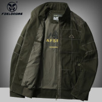 Jacket Fieldrams / wild RAM Business gentleman Military green 4XL M L XL 2XL 3XL routine easy Other leisure spring BB328 Cotton 100% Long sleeves Wear out stand collar Basic public middle age long Zipper placket Rib hem washing Loose cuff Solid color Seldingham Spring 2020 Rib bottom pendulum cotton