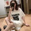 T-shirt Off white black S M L XL XXL 3XL 4XL Summer 2021 Short sleeve Crew neck easy Medium length routine commute other 96% and above 18-24 years old Korean version originality Alphanumeric According to the law Other 100% Pure e-commerce (online only)