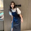 Dress Summer 2021 White top + blue skirt S M L longuette singleton  Long sleeves commute Loose waist 18-24 years old Yan Xiangfei Korean version More than 95% polyester fiber Polyester 100% Pure e-commerce (online only)