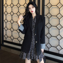 Dress Autumn 2020 S M L XL Short skirt Two piece set Long sleeves commute V-neck High waist Broken flowers Socket Ruffle Skirt routine 18-24 years old Yan Xiangfei Korean version printing More than 95% other polyester fiber Other polyester 95% 5% Pure e-commerce (online only)
