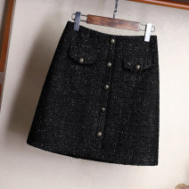 skirt Autumn of 2019 S M L XL XXL black Short skirt commute High waist A-line skirt Solid color Type A 25-29 years old Q190256S More than 95% Shallowly polyester fiber Button Polyester 100% Pure e-commerce (online only) 351g / m ^ 2 (including) - 400g / m ^ 2 (including)