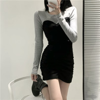 Dress Spring 2021 White grey S M L Short skirt Fake two pieces Long sleeves commute Crew neck High waist Solid color Socket One pace skirt routine Breast wrapping 18-24 years old Type H Jingmeiya Korean version Splicing More than 95% other Other 100% Pure e-commerce (online only)