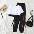 Women's large Summer 2020 White T-shirt / 580 + 903 / Black T-Shirt M L XL XXL trousers Three piece set commute easy thin Socket Short sleeve letter Korean version Crew neck have cash less than that is registered in the accounts Polyester cotton printing and dyeing routine FLJ85868585558730 Falijie