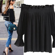 Lace / Chiffon Spring of 2018 White, black L,XL,2XL,3XL,4XL Long sleeves street Socket singleton  easy One word collar 25-29 years old Other / other 96% and above polyester fiber Europe and America