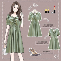 Dress Summer 2021 Purple green L XL 2XL 3XL 4XL Middle-skirt singleton  Short sleeve commute V-neck Solid color zipper Princess Dress puff sleeve Others 18-24 years old Retro Lotus leaf edge More than 95% other other Other 100%