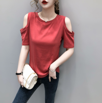T-shirt M,L,XL Summer 2020 Short sleeve Crew neck Self cultivation Regular routine Sweet cotton 96% and above 18-24 years old originality Solid color Other / other hole solar system