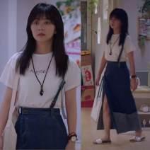 skirt Autumn 2020 S,M,L,XL E59 white T-shirt, C67 blue denim skirt longuette commute High waist Denim skirt Solid color Type A L14610 51% (inclusive) - 70% (inclusive) Denim Other / other cotton Korean version
