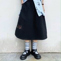 skirt Summer 2020 M L XL 2XL White black Mid length dress commute High waist A-line skirt Cartoon animation Type A 18-24 years old xzj6027 More than 95% Zhaorou other Embroidery Korean version Other 100% Pure e-commerce (online only)