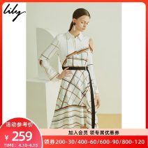 Dress Summer of 2019 604m white XS S M L XL Mid length dress singleton  Long sleeves commute Polo collar High waist lattice Socket A-line skirt shirt sleeve Others 25-29 years old Type A Lily / Lily Ol style Asymmetric bandage printing More than 95% other polyester fiber Polyester 100%