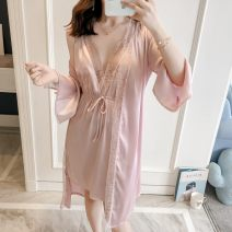 Pajamas / housewear set female Other / other M for 100 Jin, l for 118 Jin, XL for 135 Jin Red, gray, black, Navy, rubber powder Polyester (polyester) Nine point sleeve