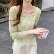 Wool knitwear Summer 2020 S M L Nine point sleeve singleton  Cardigan Viscose 81% (inclusive) - 90% (inclusive) have cash less than that is registered in the accounts Thin money commute Self cultivation Low crew neck routine Solid color Single breasted Korean version 18-24 years old Jun Xuan