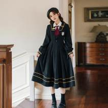 Dress Autumn 2020 White shirt with tie, black JK dress S,M,L,XL Mid length dress singleton  Long sleeves commute Admiral High waist Pleated skirt 18-24 years old Retro Embroidery, zipper C9985329
