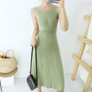 Dress Autumn of 2019 Meat pink light green Average size longuette singleton  Sleeveless commute V-neck Loose waist Socket other other straps 18-24 years old Type A Picture Dream Blue Korean version tml102 30% and below knitting nylon Pure e-commerce (online only)