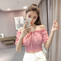T-shirt White, red, pink, sling M,L,XL,XXL Spring 2021 Short sleeve One word collar Self cultivation have cash less than that is registered in the accounts Lotus leaf sleeve Sweet polyester fiber 96% and above 18-24 years old other Solid color 031# college